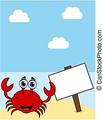 a crab on a desert island under a blue sun with a display panel