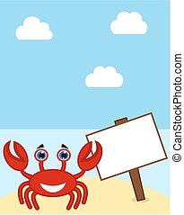 a crab with sign on a paradise beac