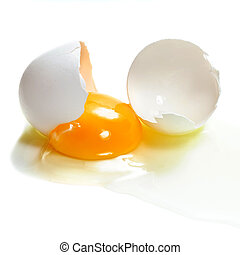 cracked egg - A cracked egg isolated