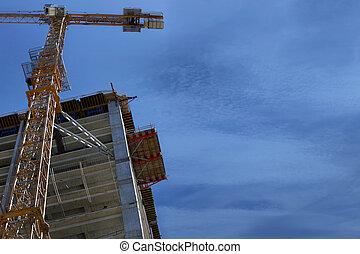 A crane near building