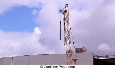 A crane on standby - A yellow crane on standby just finished...