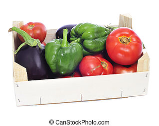 crate with organic vegetables