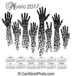 A creative 2017 musical calendar made with hands