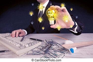 businessman has a bright idea concept