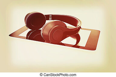 a creative cellphone with headphones isolated on white, portable audio concept . 3D illustration. Vintage style.