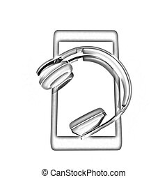 a creative cellphone with headphones isolated on white, portable