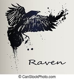 A creative sketch of a tattoo is a dark raven.