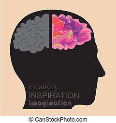 a creativity and logical brain in a human body seeing from a side
