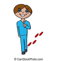 a creepy surgeon smiling with a scalpel goes for an operation. bloody trail. isolated cartoon vector illustration
