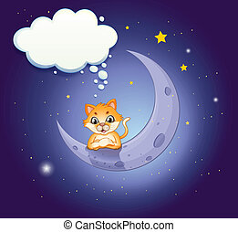 A crescent moon with a cat and an empty callout - ...