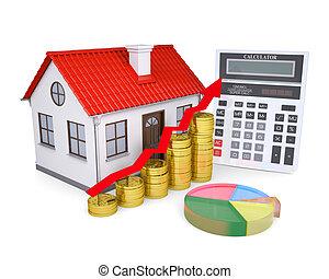 a, crescimento, em, propriedade, preços