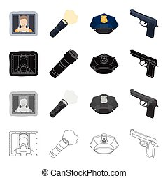 A criminal in prison, a flashlight, a police cap, a pistol. Police set collection icons in cartoon black monochrome outline style vector symbol stock illustration web.