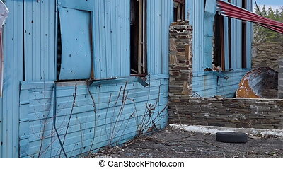 A crisis in Ukraine - A scenic shot of ruined place in...