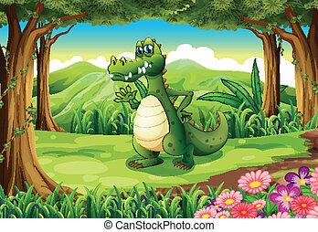 a, crocodile, à, les, forêt