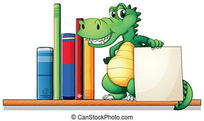 A crocodile above the shelf holding an empty signboard