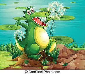 A crocodile above the stump near the pond