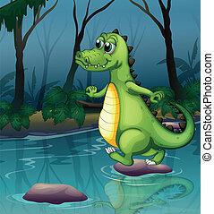 A crocodile crossing the pond