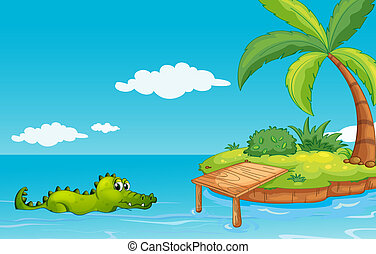 A crocodile going to the island - Illustration of a...