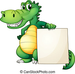 A crocodile holding an empty board