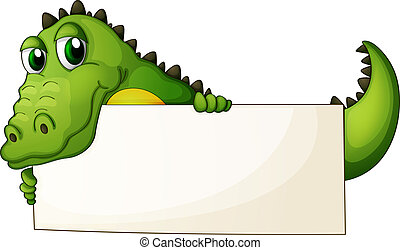 Illustration of a crocodile holding an empty signage on a white background