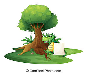 A crocodile holding an empty signage under the tree