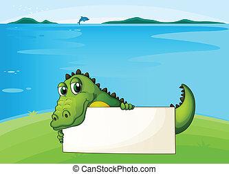 A crocodile holding an empty signboard