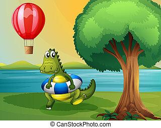 A crocodile inside the buoy along the river - Illustration...