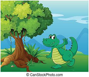 A crocodile near the tree