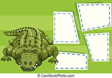 A crocodile on blank template