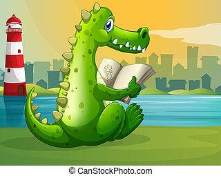 A crocodile reading across the lighthouse