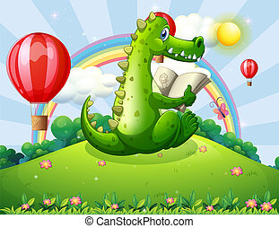 A crocodile reading at the hilltop with a rainbow