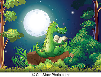 A crocodile reading in the middle of the forest -...