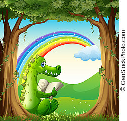 A crocodile reading under the tree below the rainbow