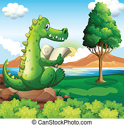 A crocodile sitting above the rock while reading near the river