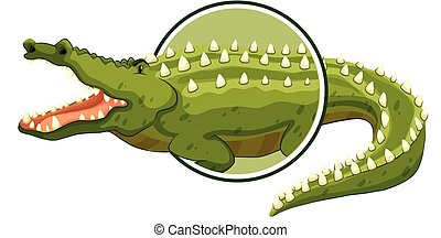 A crocodile sticker on white background