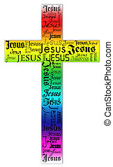 cross - A cross from the name of Jesus and bright colors