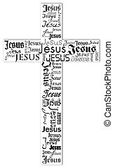 cross - A cross from the name of Jesus with rainbow colors