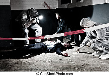 Murder scene - A cross processed murder scene with two...