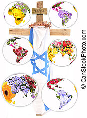 cross - A cross with a israel flag, a crown of thorns and...