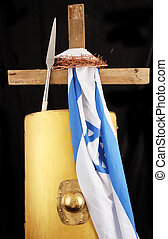cross - A cross with a israel flag, crown of thorns and...