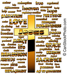 cross - A cross with English words about Jesus