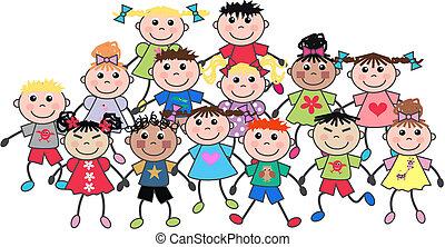 happy children - a crowd of ethnic mixed happy children
