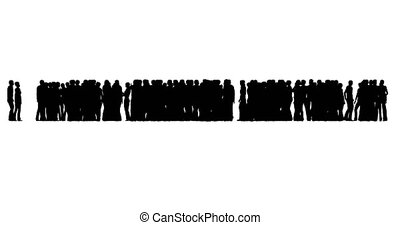 A crowd of people are standing. People silhouettes on white