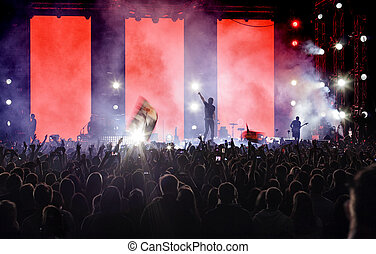 A crowd of people at a concert.