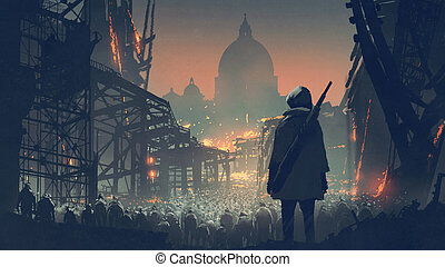 a crowd of people in apocalyptic city