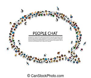 A crowd of people in the form of a chat symbol.