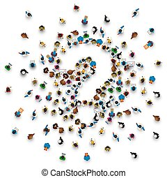 A crowd of people in the form of a question symbol
