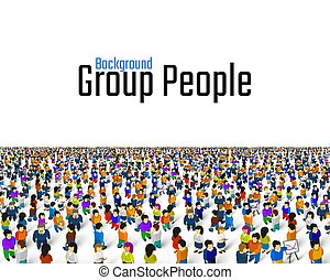 A crowd of people on a white background, Business cover.
