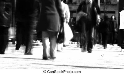 Stock Video Footage of a Crowd of people Walking in a city