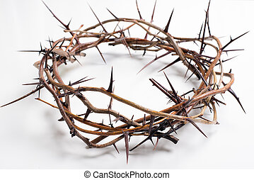 A crown of thorns on a white background - Easter. religion...